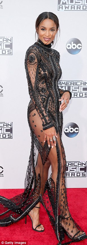 Sheerly stunning: Singer Ciara wore a sheer beaded gown which flashed her toned legs