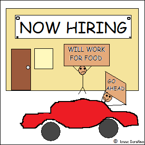 sign on building: NOW HIRING; man holding sign: WILL WORK FOR FOOD; man driving by: GO AHEAD