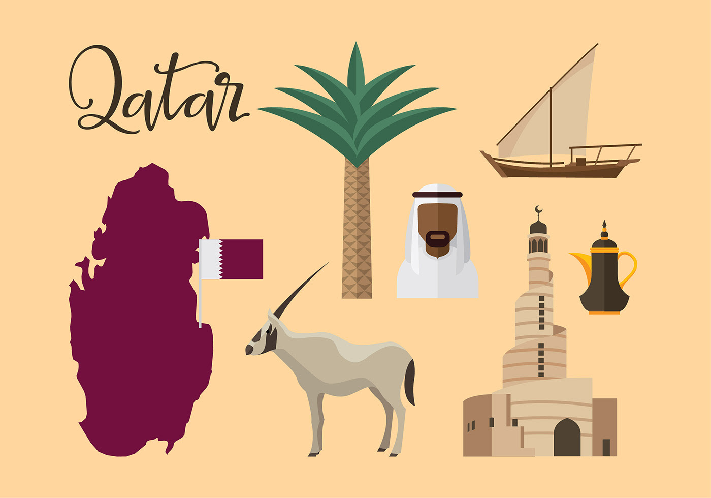 Qatar Travel Icon Vector Download Free Vector Art Stock
