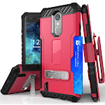 HOT PINK TRI-SHIELD RUGGED CASE COVER with KICKSTAND + BELT CLIP + STRAP + CREDIT CARD WALLET SLOT FOR LG ARISTO, LG FORTUNE, LG PHOENIX-3, LG RISIO-2