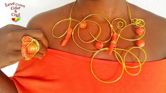 Wire wrapped Coral necklace and ring-Gift for her-Handmade
