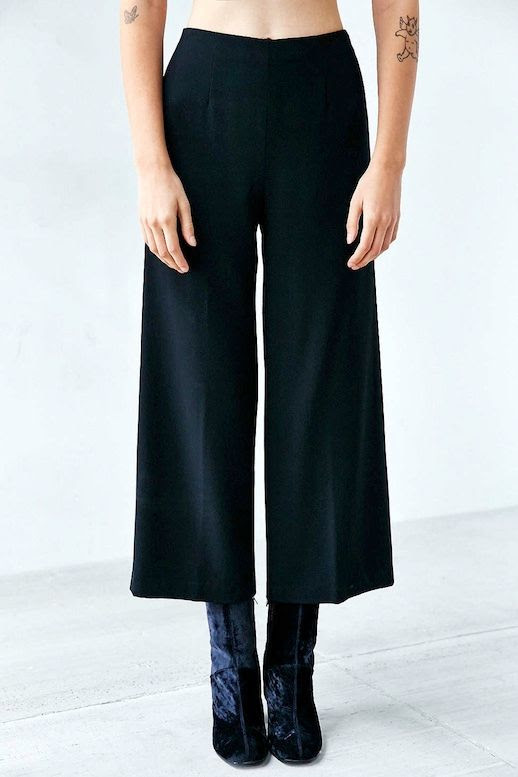 Le Fashion Blog Culottes Cropped Wide Leg Trousers Velvet Heeled Tall Ankle Boots Via Urban Outfitters
