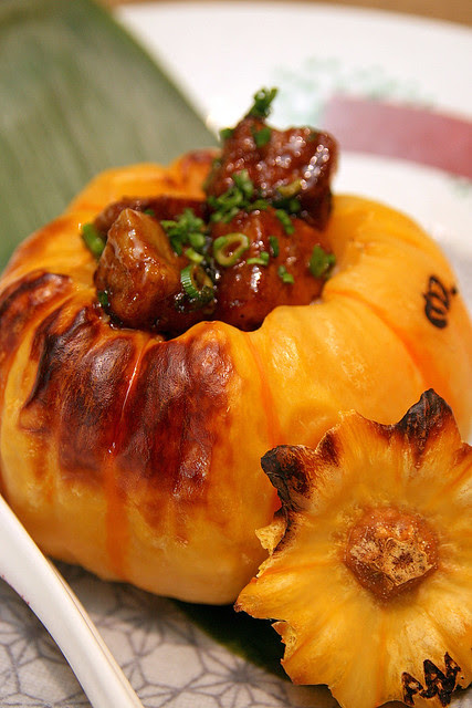 Japanese Fragrant Rice with XO Sausages and Pan-seared Foie Gras served in Steamed Yellow Pumpkin