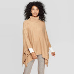 Women's Turtleneck Pullover Poncho Wrap Jacket - A New Day Camel One Size