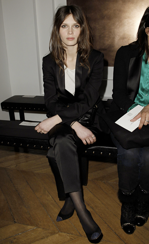LE FASHION MODEL CRUSH MARINE VACTH FRONT ROW BLACK SATIN TUXEDO JACKET PANTS CAP TOE HEELS TIGHTS HOSE WHITE TEE TSHIRT YSL SAINT LAURENT SHOW NATURAL BEAUTY FRECKLES LONG HAIR WAVY MESSY CLASSIC FRENCH STYLE PARISIAN EFFORTLESS NO FUSS 10 photo LEFASHIONMODELCRUSHMARINEVACTHFRONTROWSATINTUXEDOJACKETPANTSCAPTOEHEELSYSLSAINTLAURENTSHOW10.png