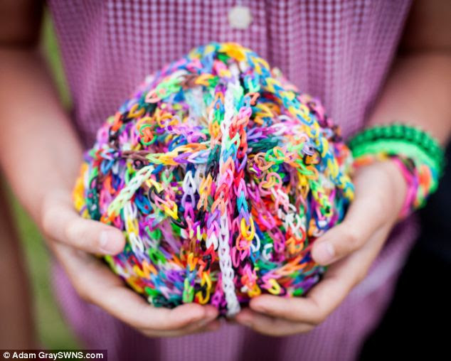 Craze: Loom bands can be shaped into different objects, like this ball. One doctor warned parents that it was possible for children to choke on the tiny bands
