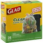 Glad Drawstring Bags, Large Trash, Clear - 28 bags