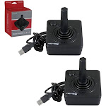 2-Pack 6 Feet Wired Atari Style Joystick Controller For PC And Mac Black