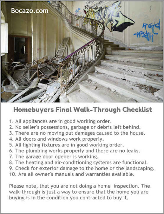 Homebuyer's Final Walk-Through Checklist