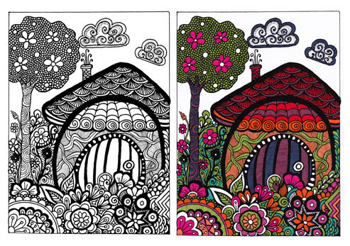 Free Coloring Page 4 – Forest House for coloring | Zendoodle Art & Stuff