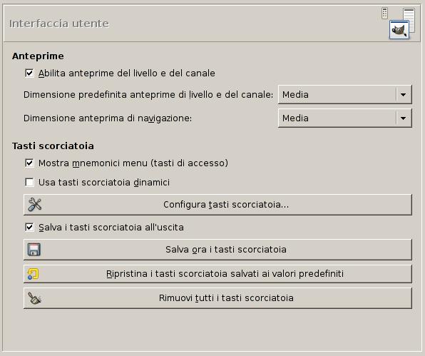 Varie preferenze sull'interfaccia utente