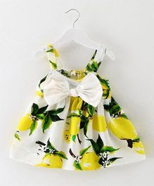 Pre Order - Awabox Fruit Print Big Bow Strap Dress - Yellow