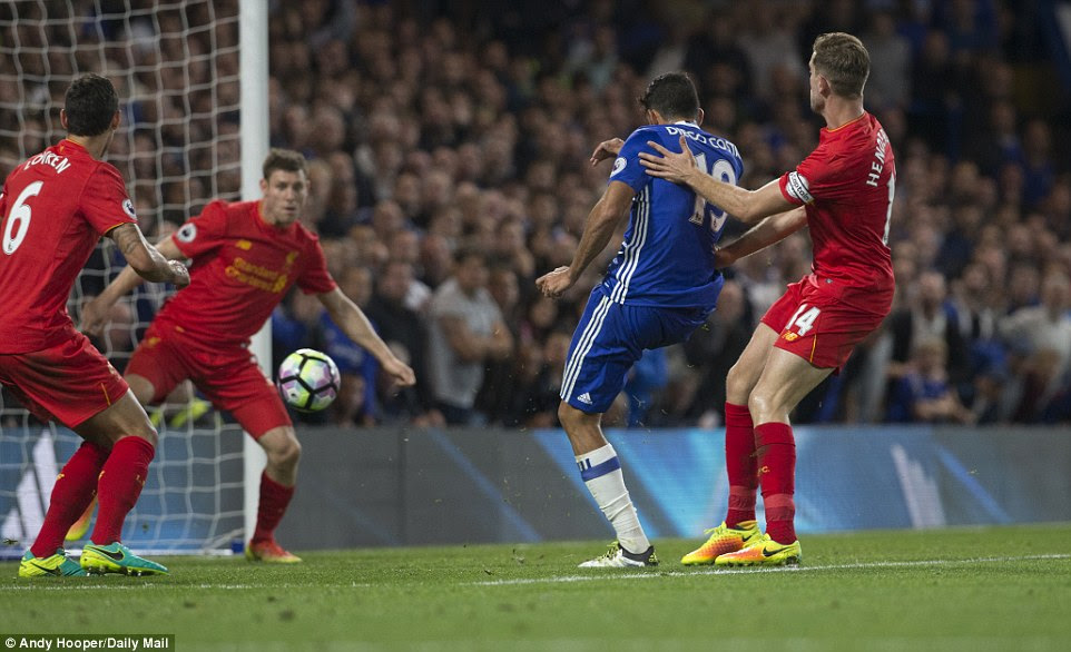 Costa, who had been subdued in the opening half, was on hand to score his fifth Premier League goal of the season