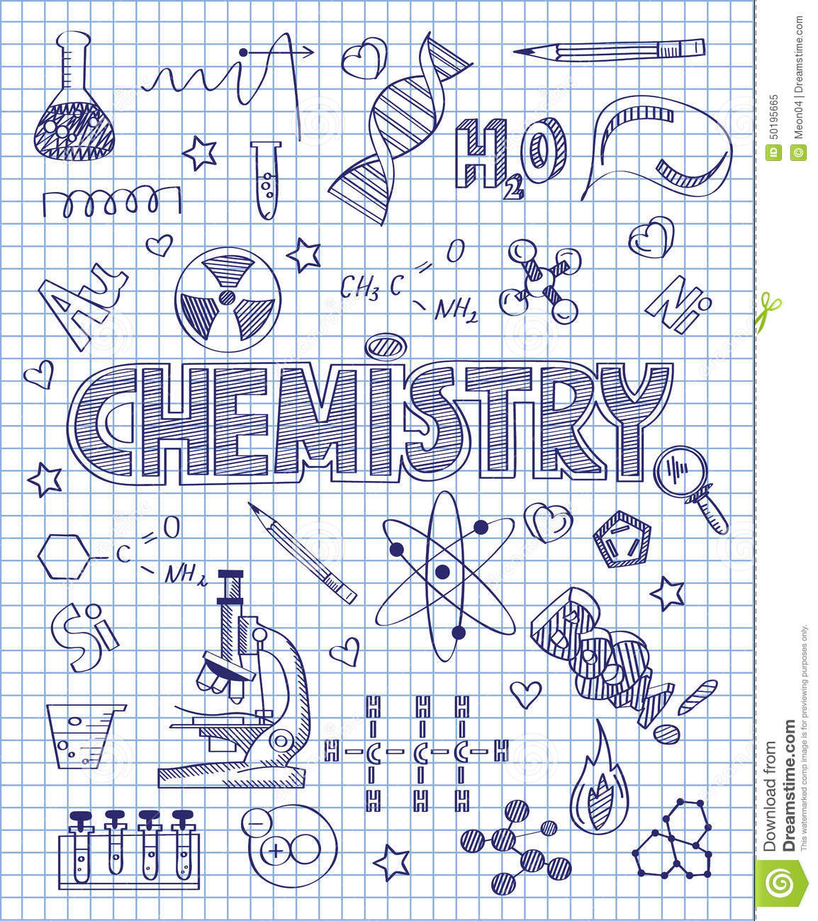 hand drawn chemistry set vector illustration 50195665