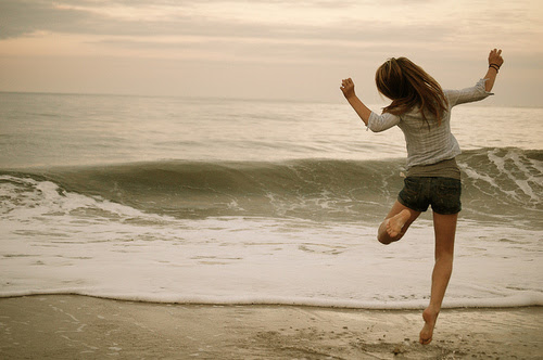 beach, dancing, girl, joy, sea