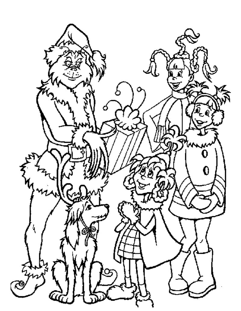 Grinch gives out christmas gifts coloring pages ...