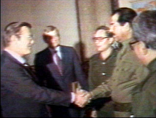 Donald Rumsfeld and Saddam Hussain - 1980's