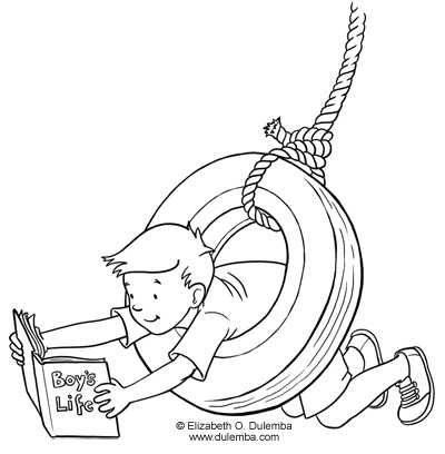 coloring page tuesday tire swing
