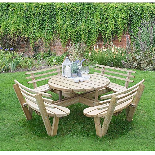 Get Cheap 8 Seater Wooden Circular Picnic Table Attached ...