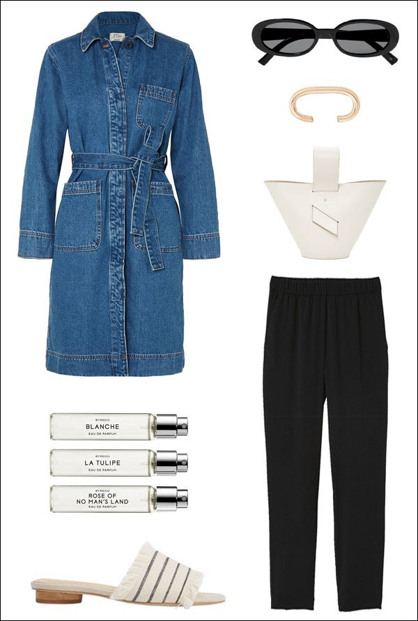 Minimal Spring Outfit Idea J Crew Denim Trench Coat Le Specs Retro Oval Sunglasses Ear Cuff Carolina Santo Domingo Tote HM Pants Byredo Perfume Splendid Fringe Flat Sandals Le Fashion Blog