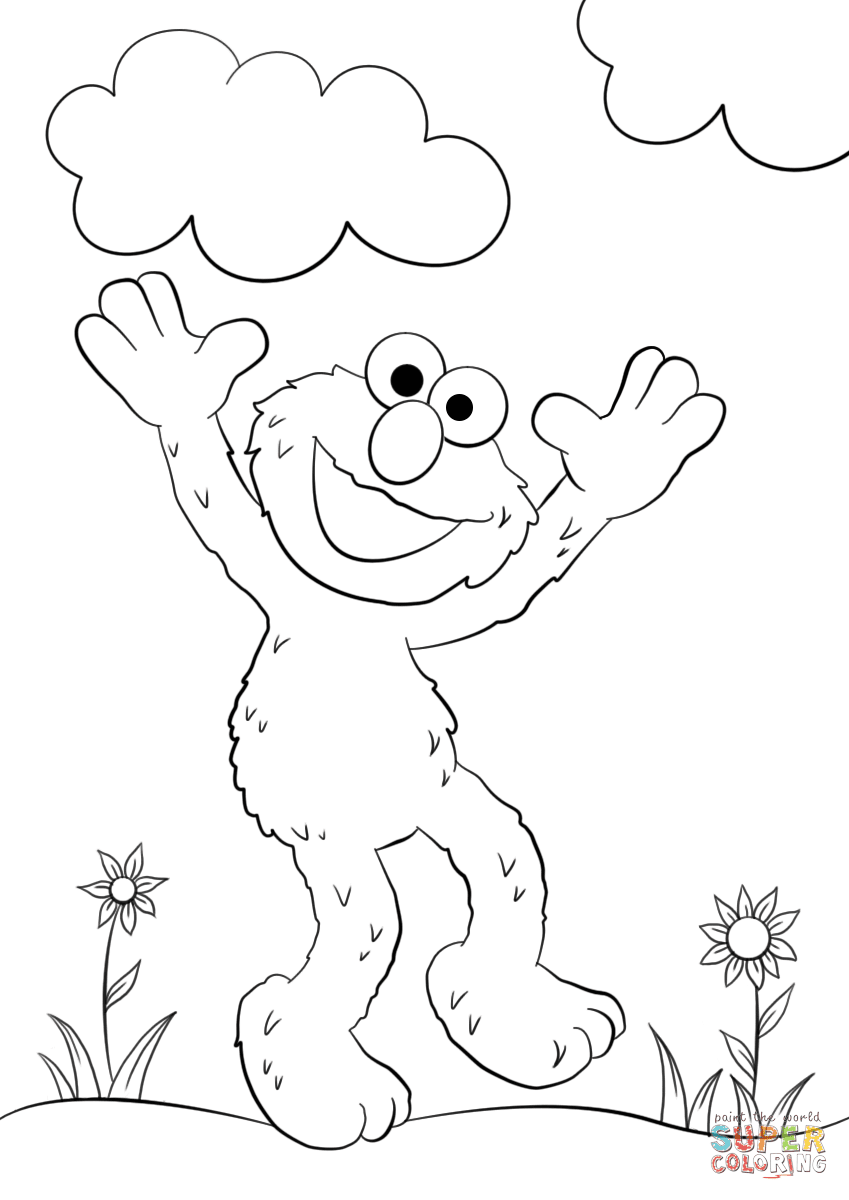 Happy Elmo coloring page | Free Printable Coloring Pages