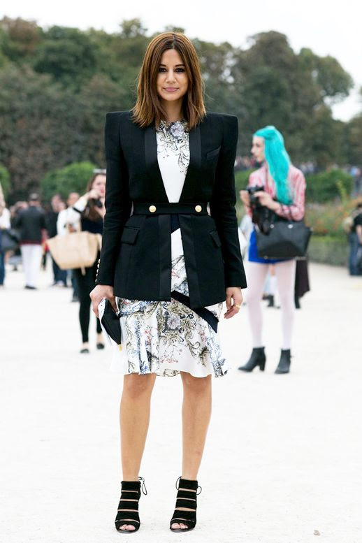 Le Fashion Blog Editor Style Pfw Christine Centenary Black Blazer With Statement Shoulders Printed Silk Dress Cut Out Heeled Sandals Via Popsugar