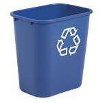 Rubbermaid Fg295573Blue Desk Recycling Container,blue,3-1/4 Gal.
