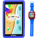 Linsay F7KBWB - Wi-Fi - 32 GB - with Blue Case and Smart Watch Kids Cam Selfie - Black - 7""