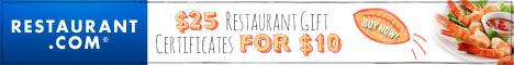 Restaurant.com Weekly Promo Offer 468 x 60