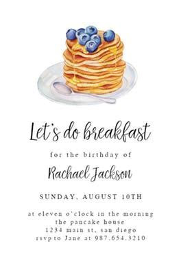 Pancake breakfast   Birthday Invitation Template (free