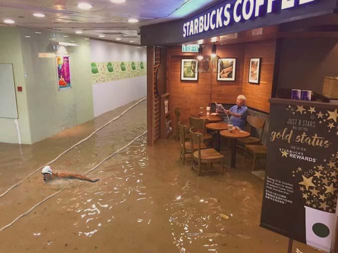 Άνδρας που διαβάζει ατάραχος εφημερίδα εν μέσω πλημμύρας, γίνεται αφορμή για ξεκαρδιστικό Photoshop Battle (10)