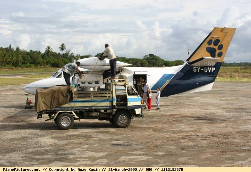 Mombasa Air Safari Let 410 (5Y-UVP) at Ngerende Air strip, Kenya