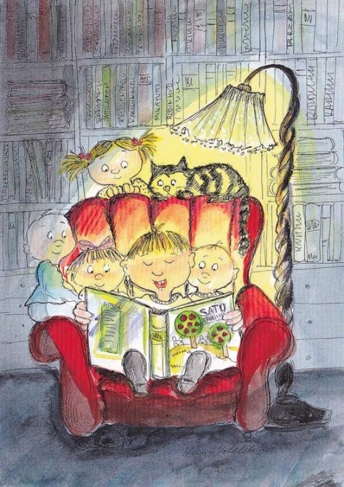 Story time / Hora del cuento (ilustración de Virpi Pekkalan)