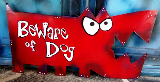 Dog Art: Beware of Dog  Big Red Metal Sign by Rynski on Etsy
