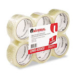Universal 63000 Box Sealing Tape 2 in. x 55 yards 3 in. Core Clear 6-Pack