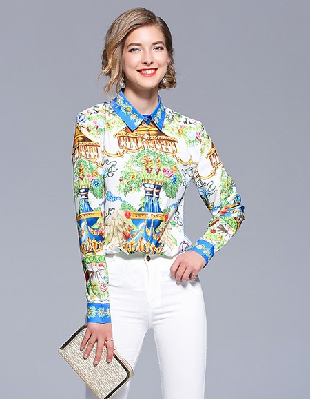 Luxury Printed Blouse Womens