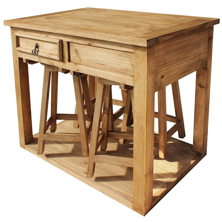 Rustic Pine Collection Kitchen Island W Stools Mes90