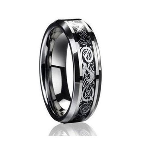 6mm Men's or Ladies Tungsten Carbide Celtic Knot Dragon