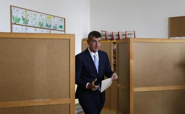 Czech Finance Minister Andrej Babis is seen casting his vote in the European Parliament elections at an elementary school in this file photo taken in Prague May 23, 2014.  REUTERS/David W Cerny/Files