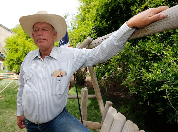 MESQUITE, NV - APRIL 11: Rancher Cliven Bundy poses for a photo outside his ranch house on April 11, 2014 west of Mesquite, Nevada. Bureau of Land Management officials are rounding up Cliven Bundy's cattle, he has been locked in a dispute with the BLM for a couple of decades over grazing rights. (Photo by George Frey/Getty Images