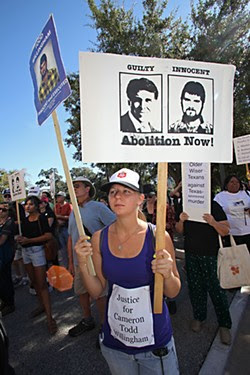 Death penalty opponents at a protest last fall