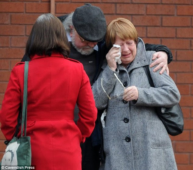 Distraught: Miss Whiteley's mother Claire cries outside the inquest into her daughter's death