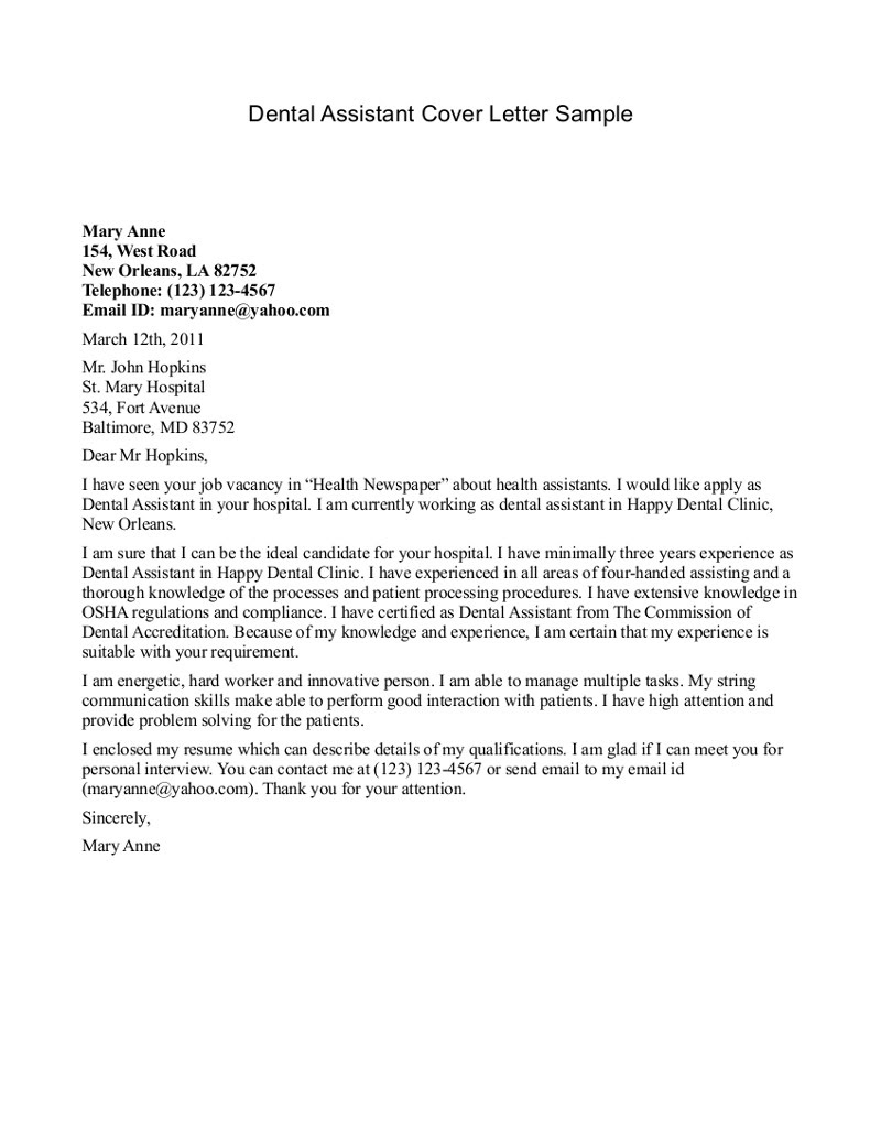 Medical Assistant Cover Letter Examples Sample Cover Letter