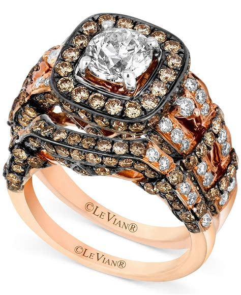 le vian  rose gold ring set white diamond   ct