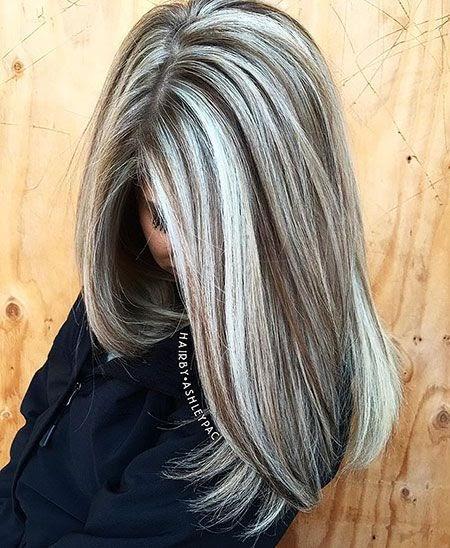 Mittellange Frisuren Graue Haare Mit Strähnchen - Fryzury