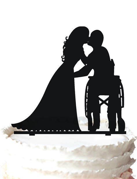 2019 Wedding Cake Topper The Groom In Wheelchair Kissing