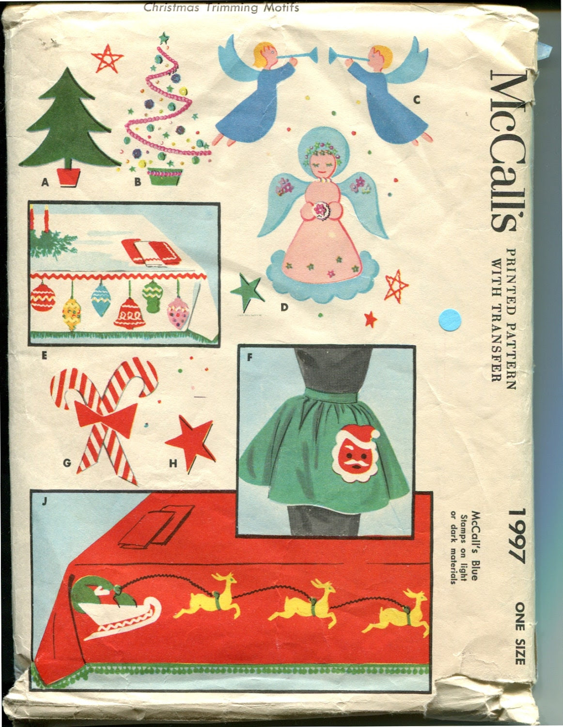 McCalls 1997 1950s Christmas Applique Pattern Home by retromonkeys