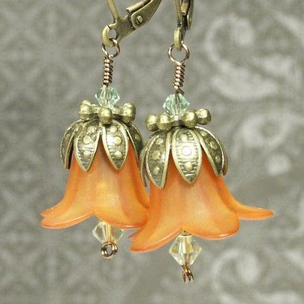 Lily Flower Blossom earrings in Tangerine Orange | GoblinsMarket - Jewelry on ArtFire