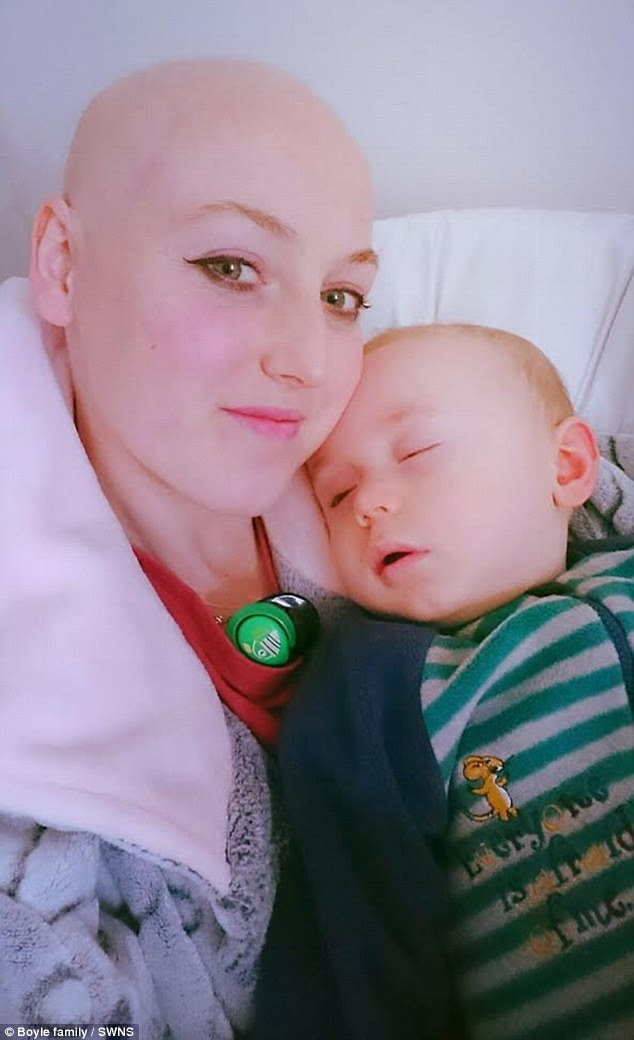 Just two weeks after Teddy's behaviour prompted her to have a biopsy Sarah was diagnosed with grade 2 triple negative breast cancer. Pictured: Sarah during chemotherapy