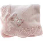 Baby Girls Pink Heirloom Shawl Blanket Knitted Cotton | Sarah Louise